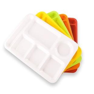 快餐盤分格餐盤加厚密胺餐具塑料長方形仿瓷分隔多格學校食堂餐盤