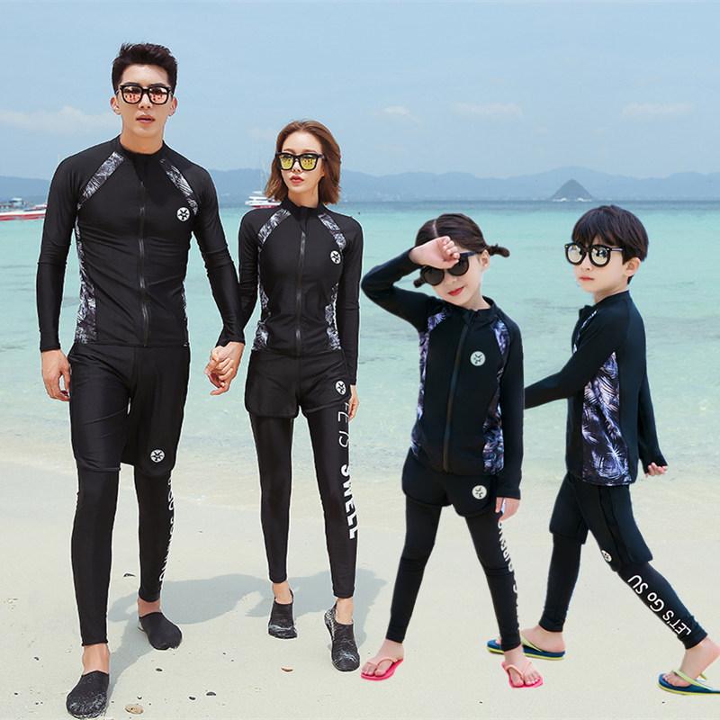 亲子分体套装中大童长袖防晒潜水服(非品牌)