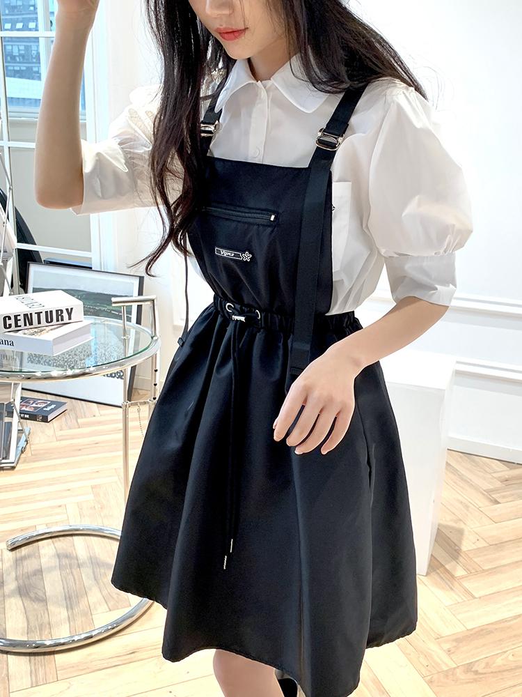 家君姐姐 VGNZ 正品授权鞠婧祎同款连衣裙在逃公主背带裙两件套