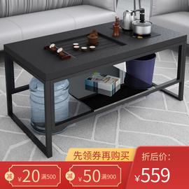 火烧石办公室功夫岩板茶几茶具套装一体简约现代轻奢茶台桌小户型