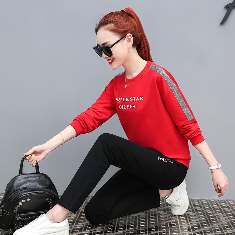 女士运动套装秋装时尚简约纯棉跑步服修身显瘦休闲服晨跑服两件套