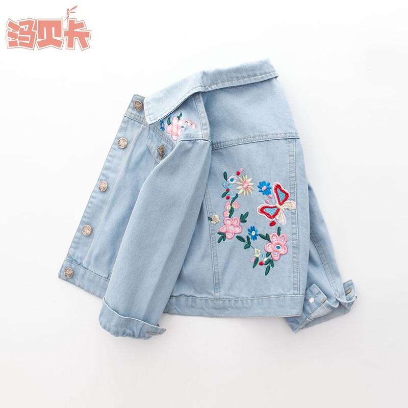 童装女童春秋装牛仔套中大童刺绣女宝女孩夹克衫版牛仔衣上衣
