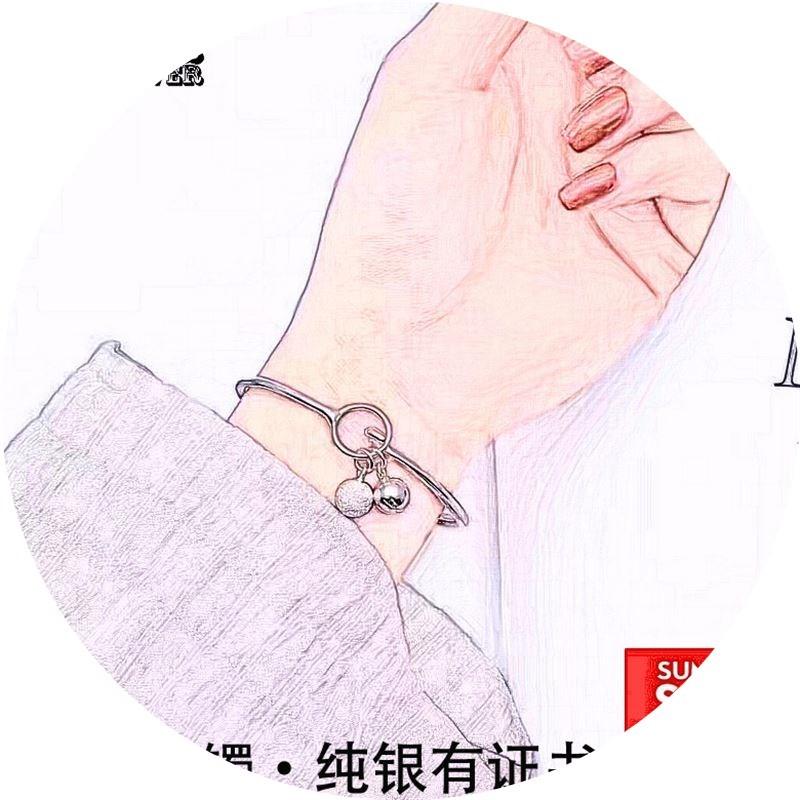 友镯面口送人节女约手手铃铛实女足光饰镯简开心子工纯品情