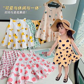 人气单品女童夏装新款2021洋气度假风清爽印花人棉吊带裙连衣裙