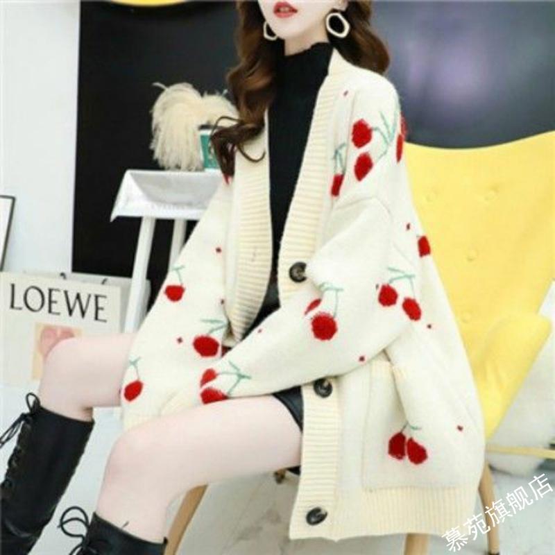 慵懒风学生外穿毛衣开衫女2021年新款春装韩版宽松很仙的针织外套