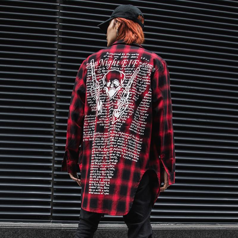 2019春夏潮男中长款印花长袖格子衬衫嘻哈国潮时尚休闲装 C55 P85
