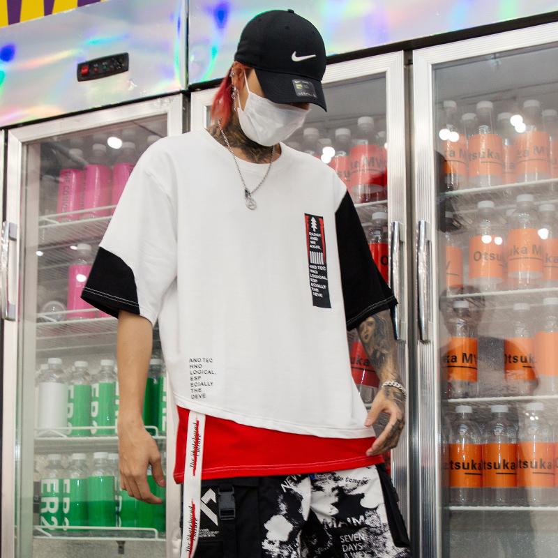 夏季新款男士个性印花款五分袖T恤宽松嘻哈国潮短袖 T425 P55