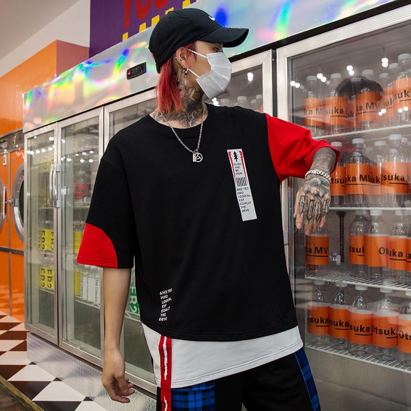 2019夏季新款男士个性印花款五分袖T恤宽松嘻哈国潮短袖 T425 P55