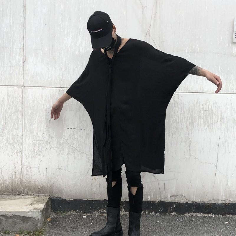 2019春夏男宽松七分袖V领中长款T恤暗黑国潮青年休闲装 CT636 P75