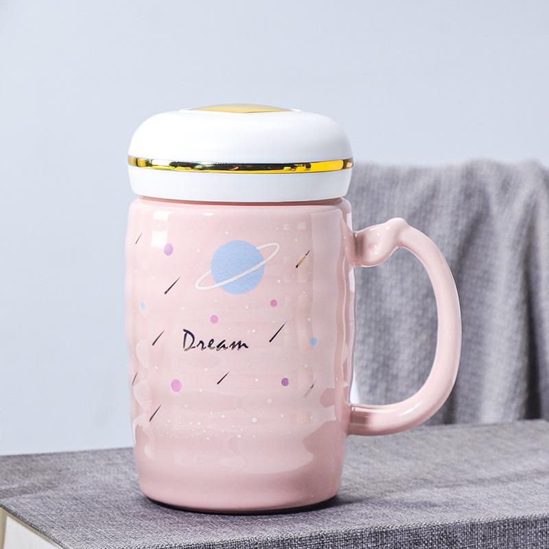新款爱心可爱马克杯 少女心情侣陶瓷杯 大容量礼品杯刻字定制LOGO