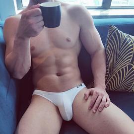 2条装 男士三角内裤低腰个性潮流超薄无痕贴身运动弹力内裤纯白色