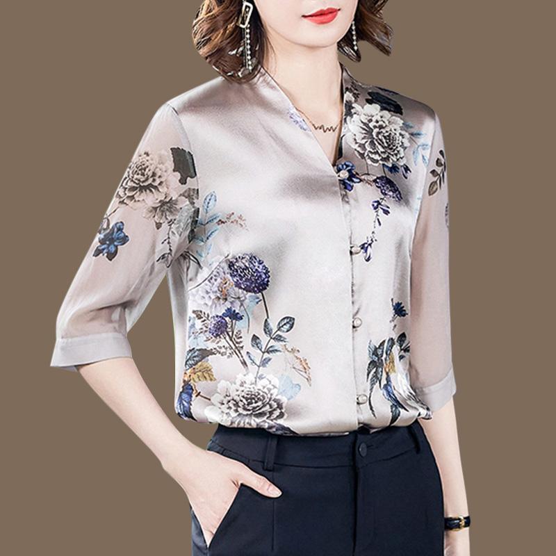真丝衬衫女2020秋季新款遮肚子缎面中老年上衣桑蚕丝妈妈小衫衬衣