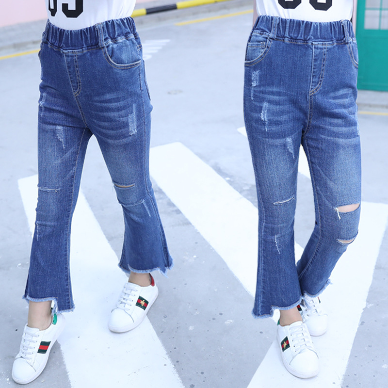 Girls coughing pants flared jeans spring and autumn summer Korean childrens hole nine point pull pants NABA Baku