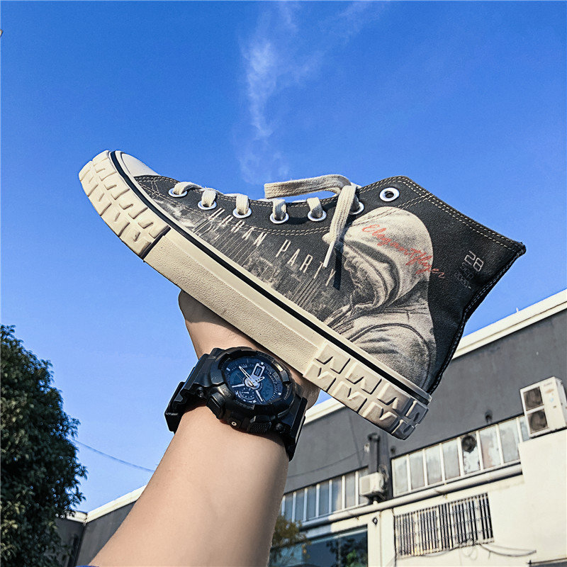 Graffiti, high top canvas shoes, mens trend, all kinds of students shoes, Korean printing, leisure, high bond mens board shoes, d1207