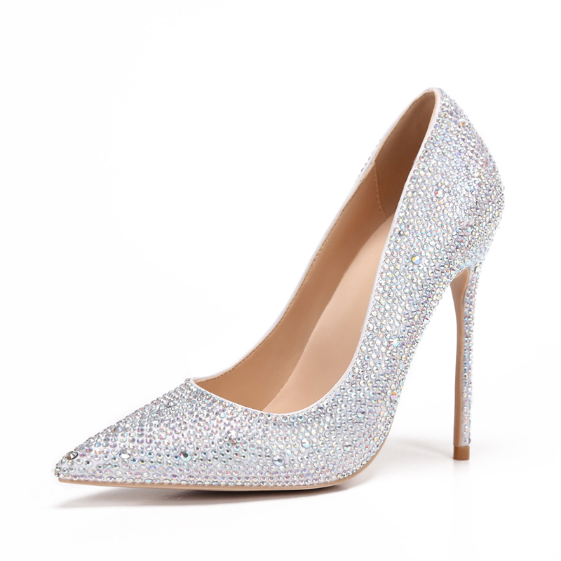 2020 spring new slim high heels pointed silver womens single shoes diamond wedding shoes Bridesmaid shoes small womens shoes