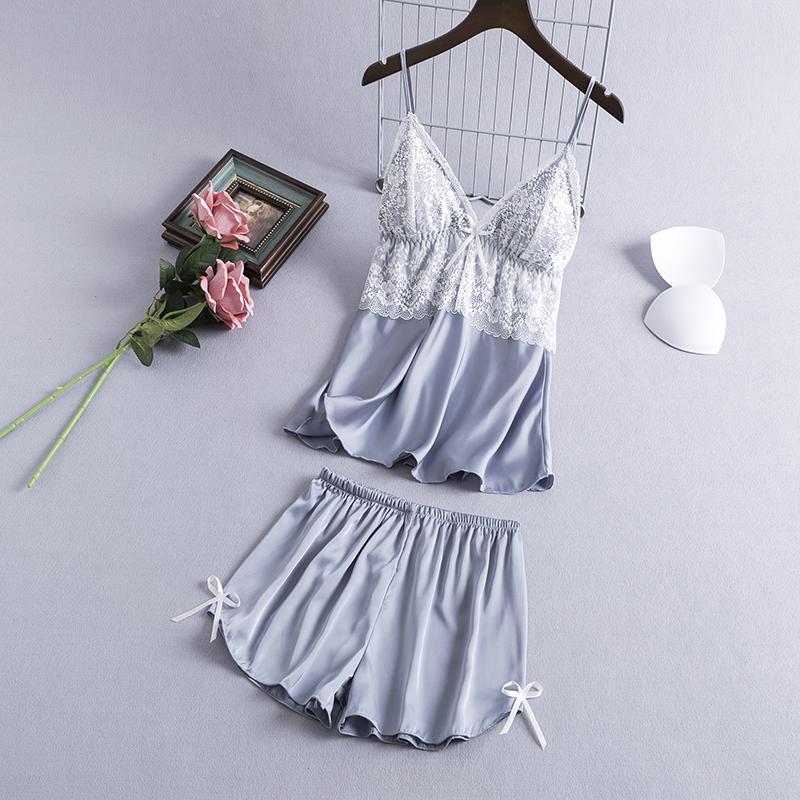 性感睡衣女夏季冰丝吊带短裤套装带胸垫薄款蕾丝韩版两件套家居服