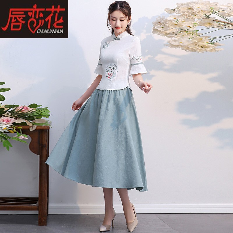 Qipao top improved fashion short section slim Tang suit Chinese style Chinese tea artist costume