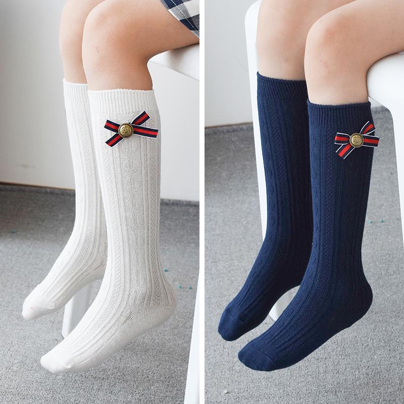 女童中筒袜春秋高筒袜纯棉学院风韩版儿童半截袜子过膝袜女宝宝潮