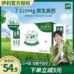 伊利金典纯牛奶250ml*16盒营养早餐奶学生成人奶整箱批发促销