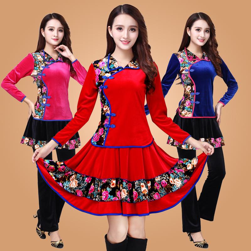 新款金丝绒广场舞服装 中老年秋冬款长袖长裤跳舞健身舞蹈服套装