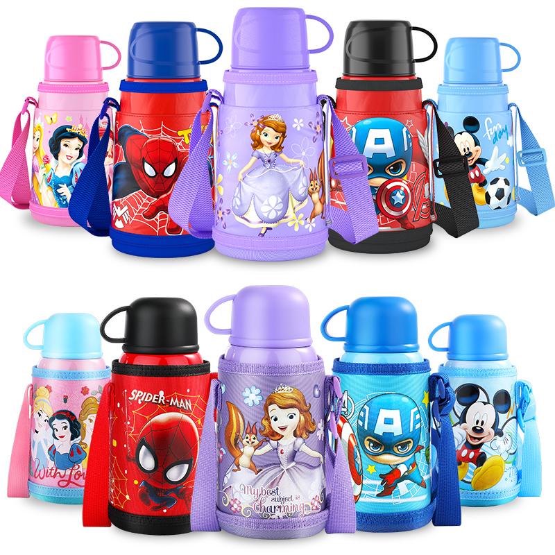 正品迪士尼儿童保温杯直饮口带吸管双盖两用316不锈钢小学生水杯