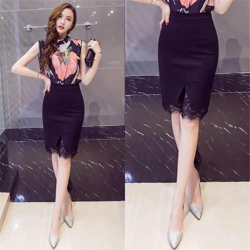 2020 spring new lace skirt Spring Summer Black buttock skirt autumn professional short skirt high waist ol one step skirt