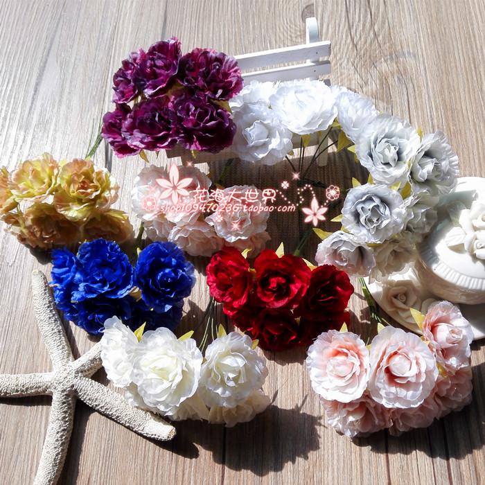 朵6手工制作配件花朵仿真花假花花环材料网拍道具布艺花朵一束DIY