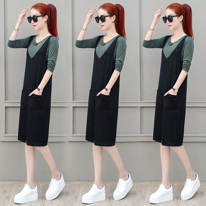 背带连衣裙女秋装2018新款韩版时尚女装休闲显瘦上衣两件套裙子潮