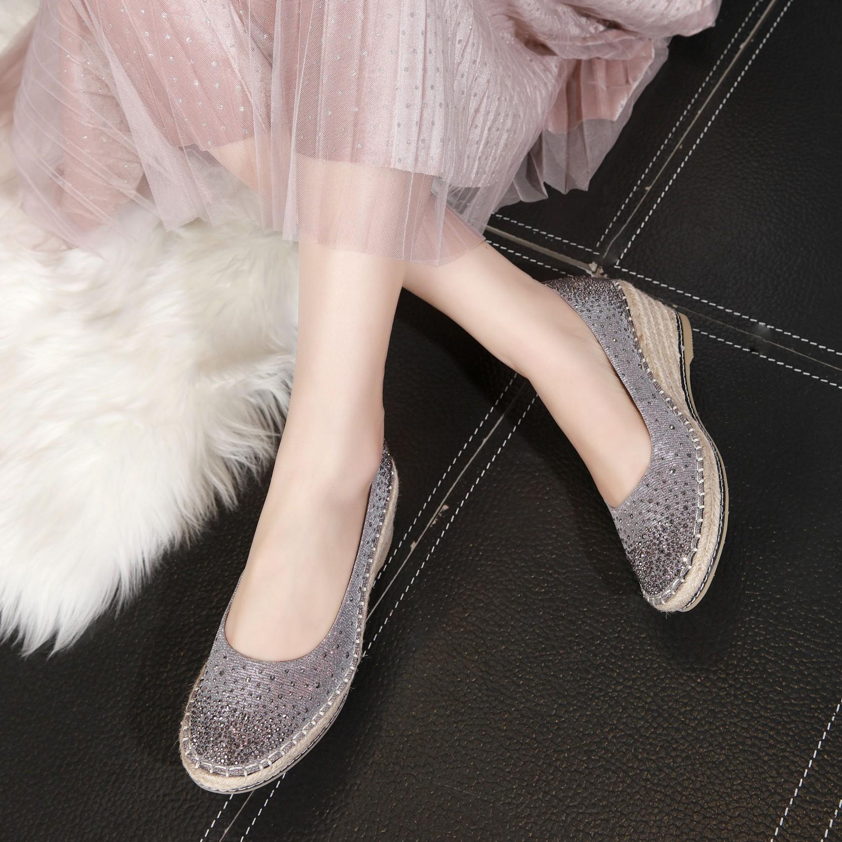 欧洲站女鞋2021新款渔夫鞋厚底水钻一脚蹬坡跟单鞋仙女风舒适百搭