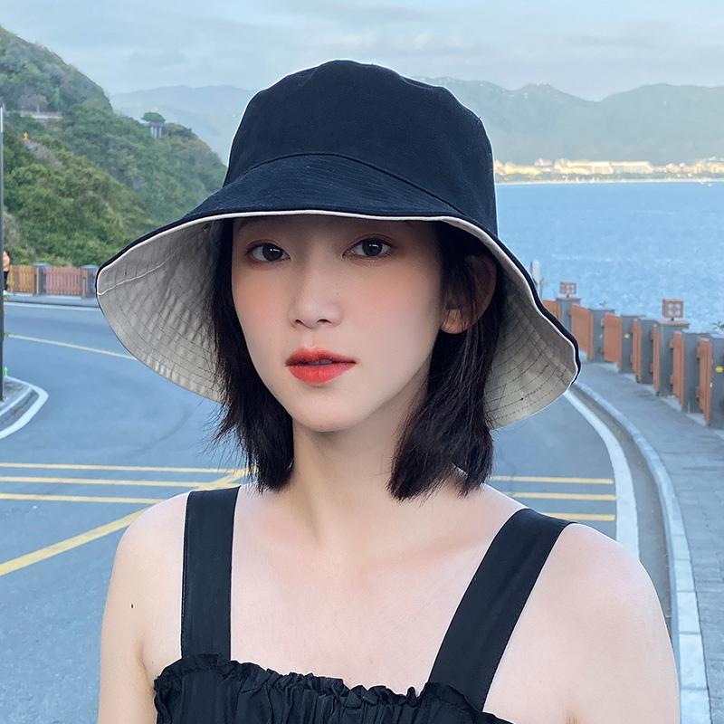 双面黑色渔夫帽子女圆脸适合的韩版百搭防晒夏季潮太阳帽日系遮阳 thumbnail