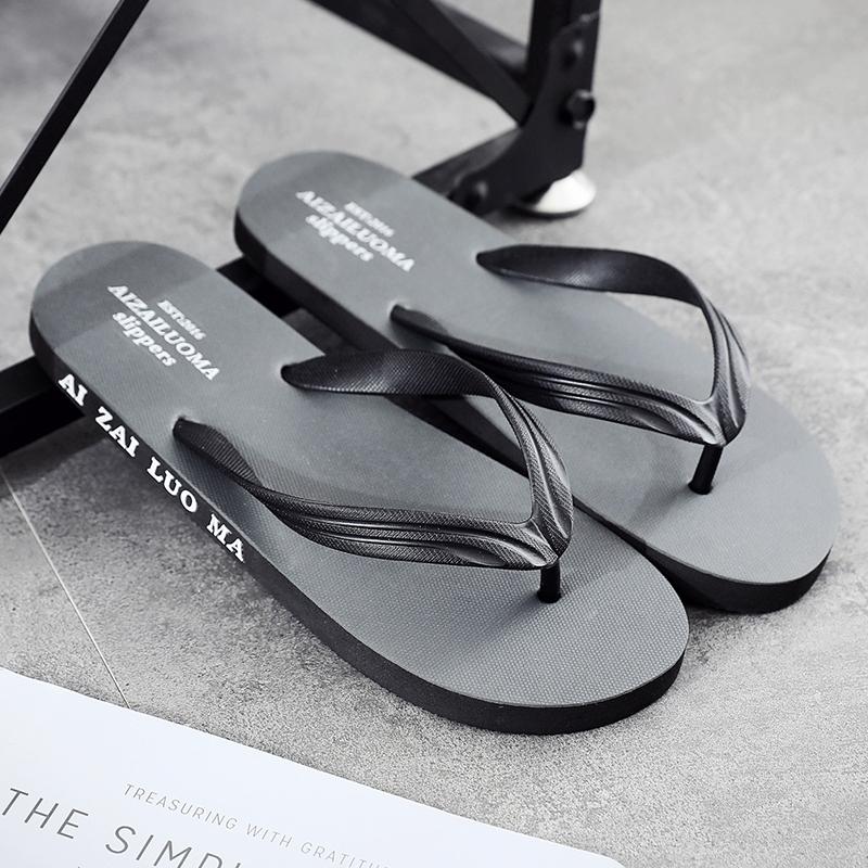 Flip flop mens summer Korean personality trend clip foot sandals outdoor wear leisure flat bottomed anti slip beach shoes