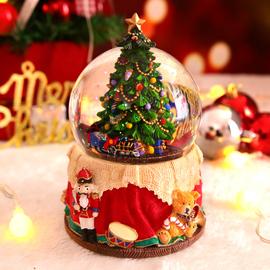 圣诞礼物雪花彩灯旋转火车圣诞树水晶球音乐盒八音盒女生儿童孩子图片