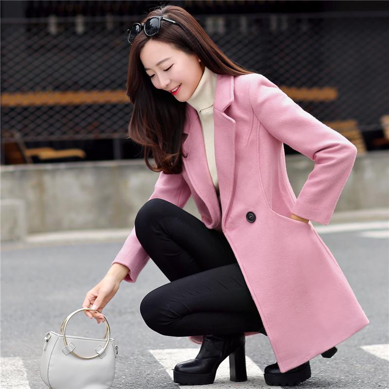 韩版修身百搭毛呢外套