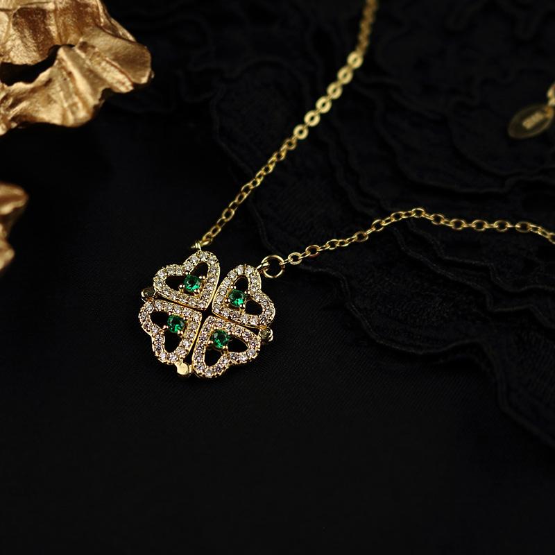 S925通体纯银祖母绿宝石微镶钻金色变形四叶草爱心形两戴锁骨项链