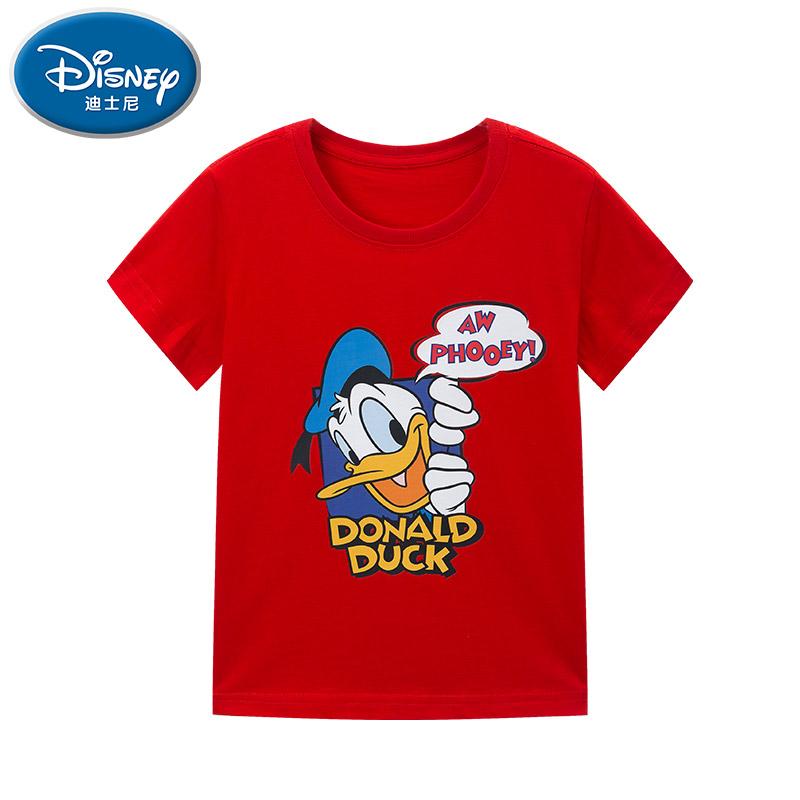 迪士尼男童短袖中大童夏装纯棉t恤潮童半袖宽松男孩儿童打底童装