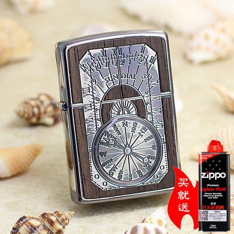 【凌乱Zippo】镶木古董时钟(银色) 原装美国正版打火机 1201S449