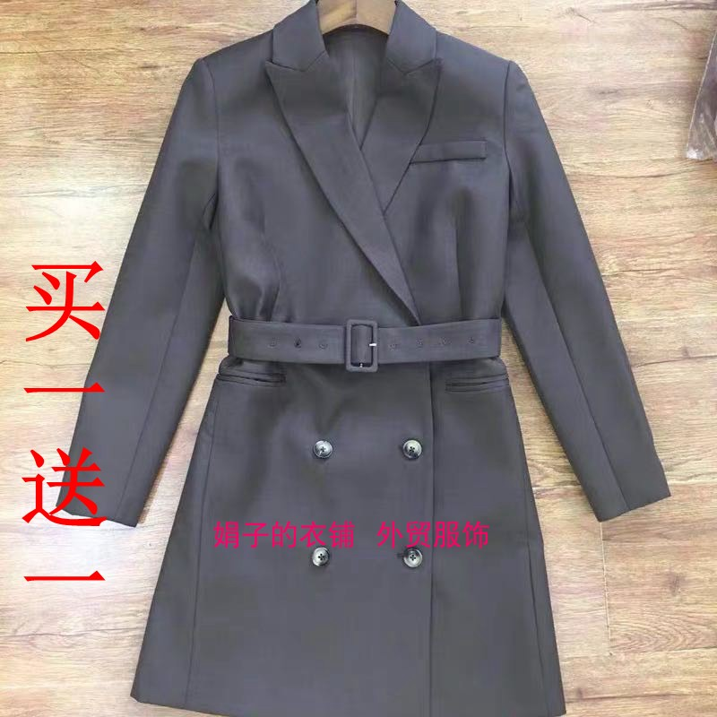 19 autumn / winter th theorist Yu Feihong the same double breasted suit collar waist belt wool suit dress