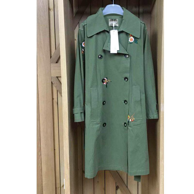 风衣女中长款重工刺绣外套女长袖双排扣1X3F891