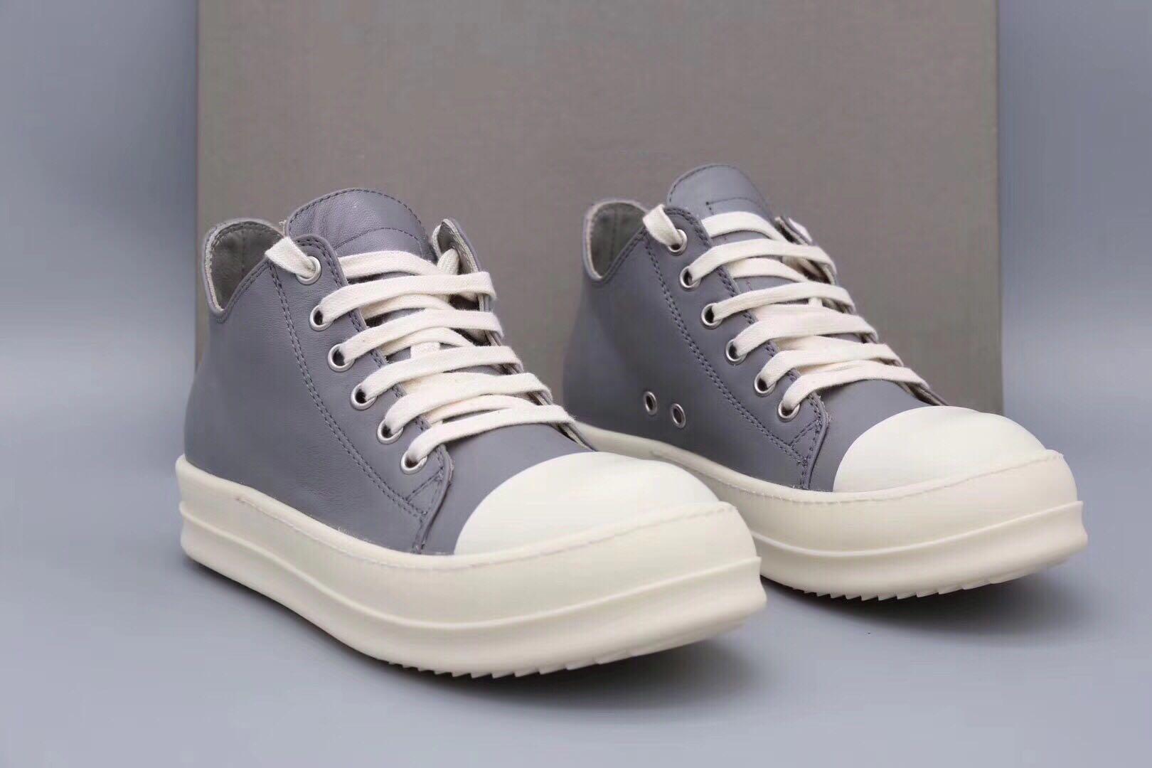水泥灰色鞋子 定制高级皮 TPU奶香底 男女情侣款低帮系带休闲鞋