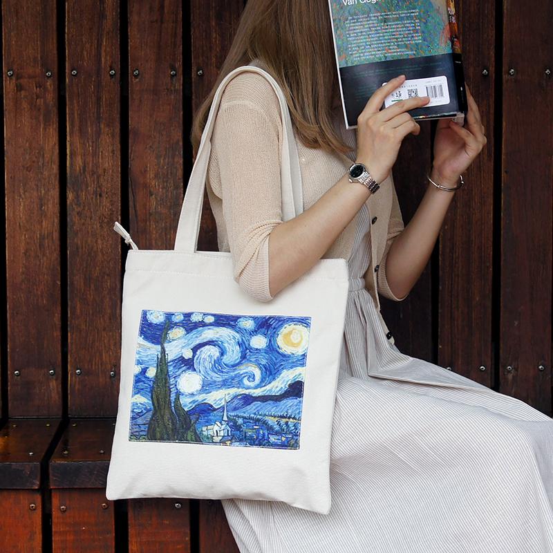 锦初《星空》梵高复古油画包包文艺帆布单肩包简约学生手提购物袋