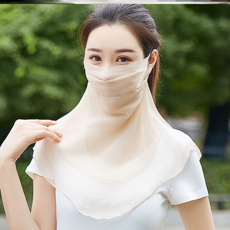 Travel scarf womens headscarf dust-proof scarf mask wrapped with sunscreen mulberry silk easy to breathe travel running face