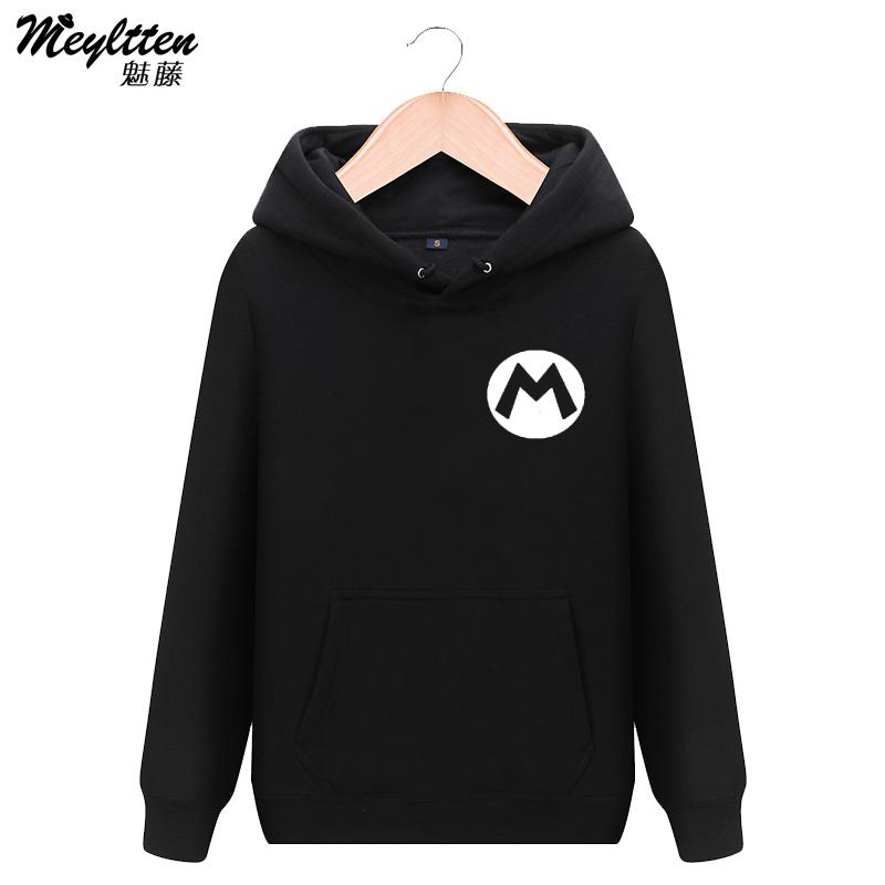 魅藤任天堂游戏超级玛丽 马里奥M标志男女学生连帽套头卫衣外套