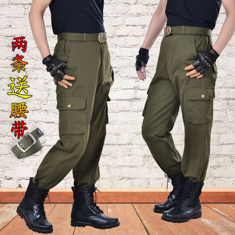 Working pants mens electric welding and automobile repair workers labor protection pants anti ironing wear-resistant loose Multi Pocket pants pure cotton overalls