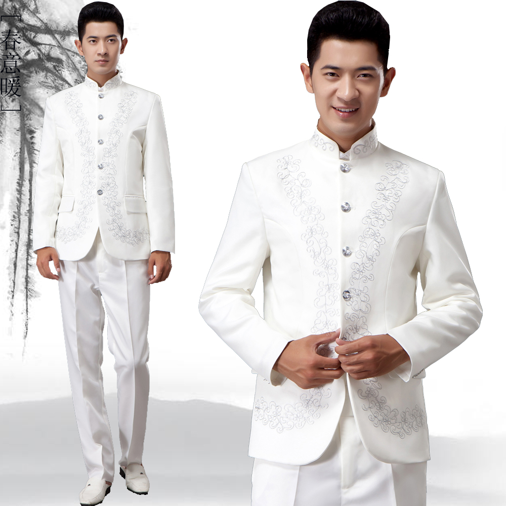 New style Chinese style embroidered Chinese style Tang suit top Chinese Shanzhuang mens adult performance suit chorus suit
