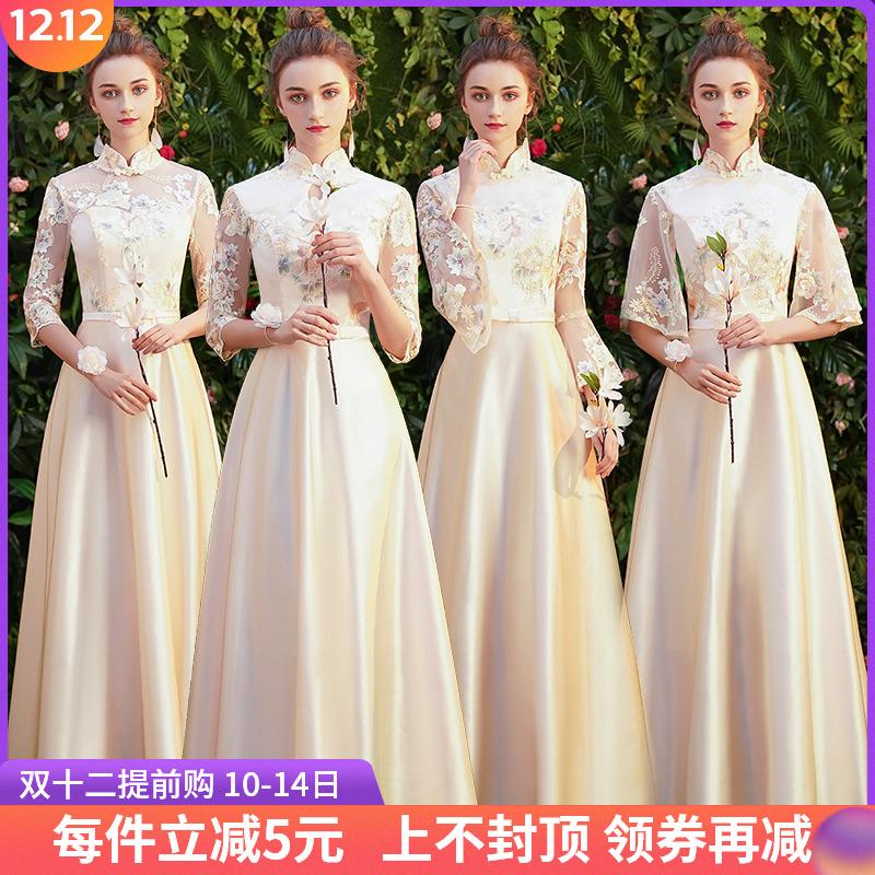 中式伴娘服2019新款冬季中国风长袖姐妹团礼服长款香槟色伴娘裙女