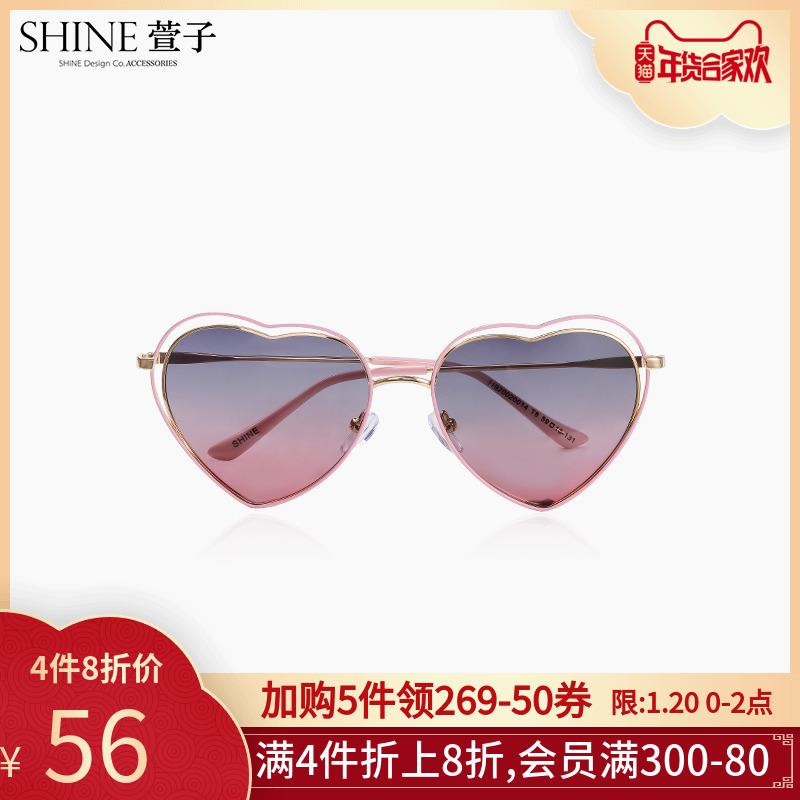 shine萱子饰品个性心形渐变色可爱桃心墨镜网红沙滩偏光太阳眼镜