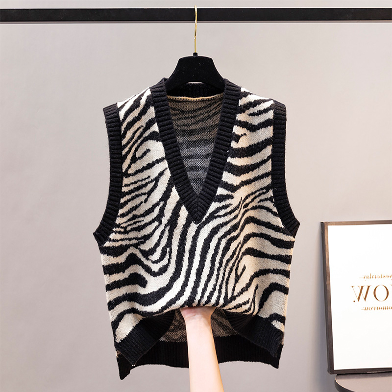 Women's knitted vest autumn and winter western style loose V-neck waistcoat sweater jacket versatile simple zebra print waistcoat vest
