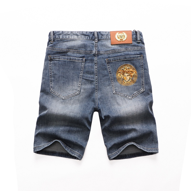 Trendy Medusa mens baggy shorts summer thin beggars hole five point pants stretch low waist jeans
