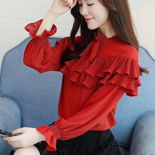 Autumn 2017 new Korean female super-sweet fairy trumpet sleeves flounced fold bottoming shirt lace chiffon shirt
