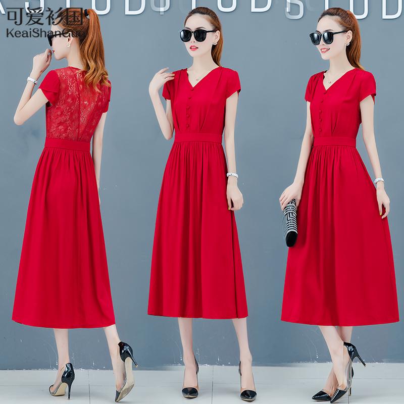 流行连衣裙2019夏季新款女装蕾丝长裙气质仙女超仙森系女士裙子潮限10000张券